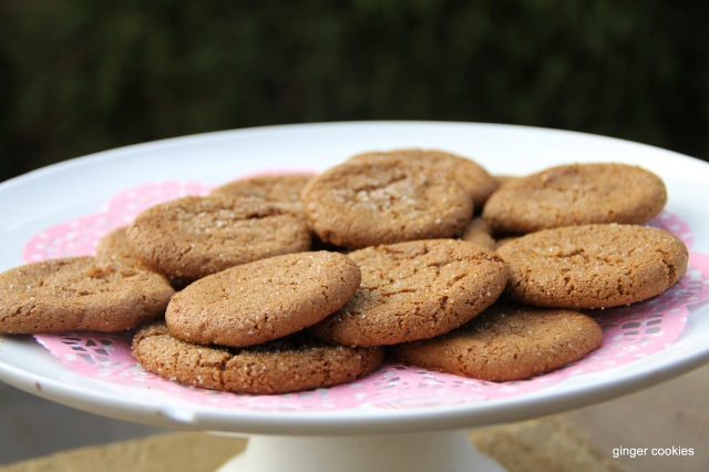 A plate of ginger cookies