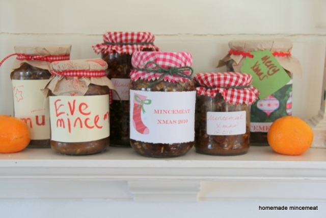 Jars of homemade mincemeat