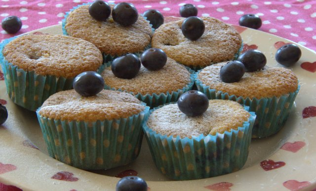Plate of blueberry and polenta muffins