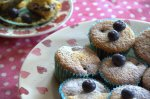 Plate of blueberry and potenta muffins