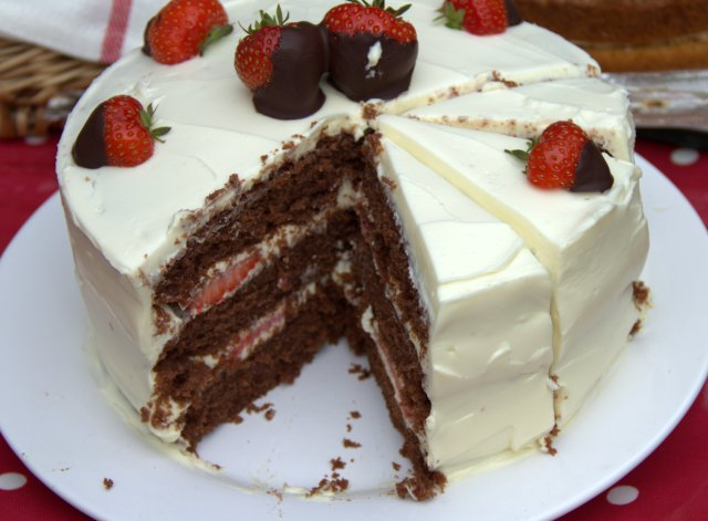chocolate and strawberry layer cake