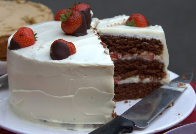 Chocolate and Strawberry Layer Cake