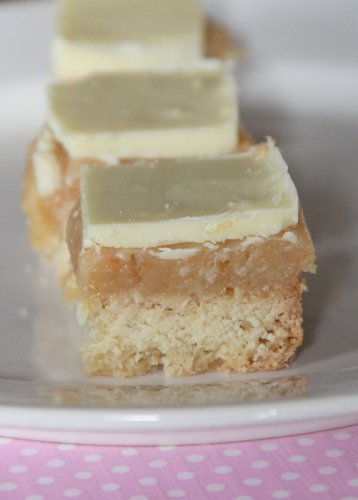 Coconut Caramel Shortbread with White Chocolate